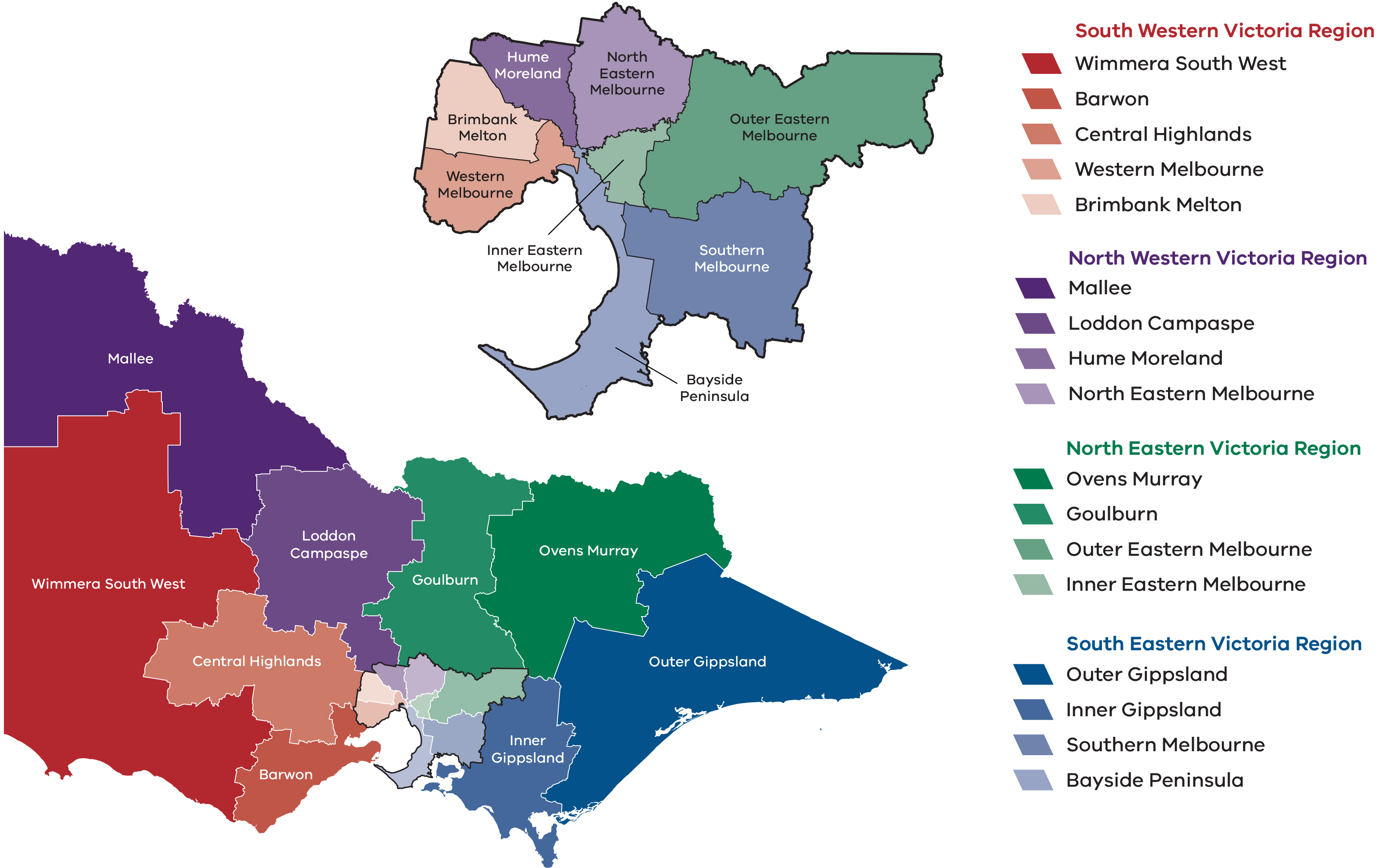 Map Of North East Victoria Australia.Regions