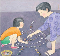 illustration of child and mother making patterns with stones