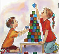 illustration of children playing with building blocks