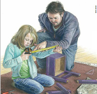 illustration of father helping daughter measure a piece of wood
