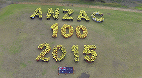 Diamond Creek students form a human outline of 'ANZAC 100 2015'.