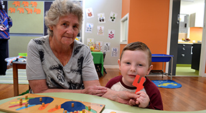 Grandparent Karin with grandson Jesse who attends kindergarten in the Hume area.