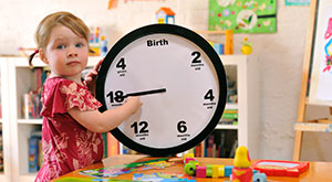 A child with a clock that shows developmental ages.