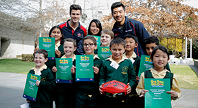 AFL Multicultural Ambassadors Trent Cotchin and Lin Jong with award winners.