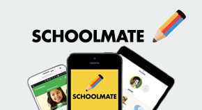 The new SchoolMate app appearing on different digital devices.