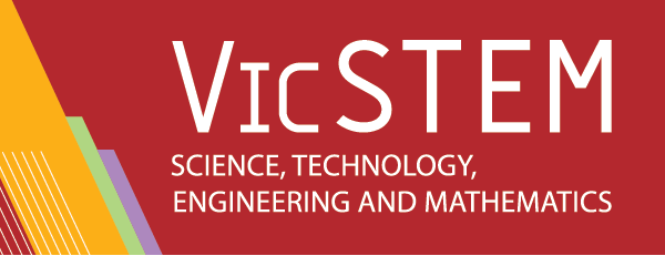 VicSTEM logo - STEM stands for Science, Technoplogy, Engineering, Mathematics