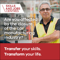 Help for auto supply chain workers. Are you affected by the closure of the car manufacturing industry? Transfer your skills. Transform your life. Skills and jobs centres.