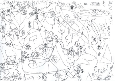 child's drawing with figures, shapes and letters