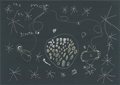 child's drawing of moon with while crayon on black paper