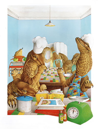 drawing of crocodiles in the kitchen