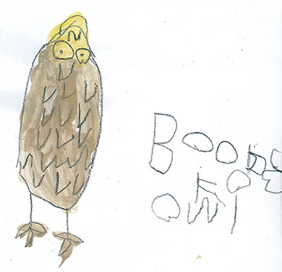 child's sketch of owl witha text label