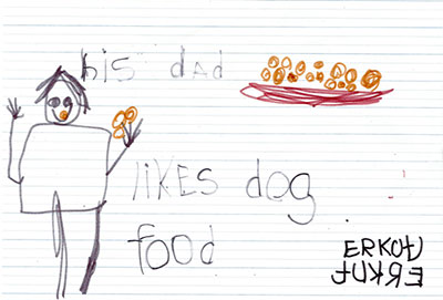 drawing of man and bowl of food with the text his dad likes dog food