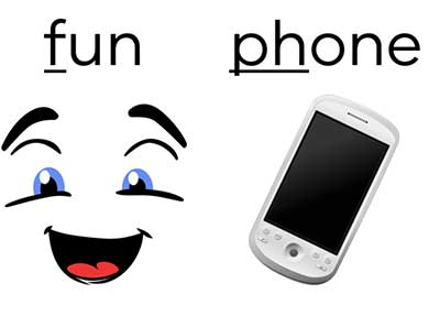 image of laughing face and phone