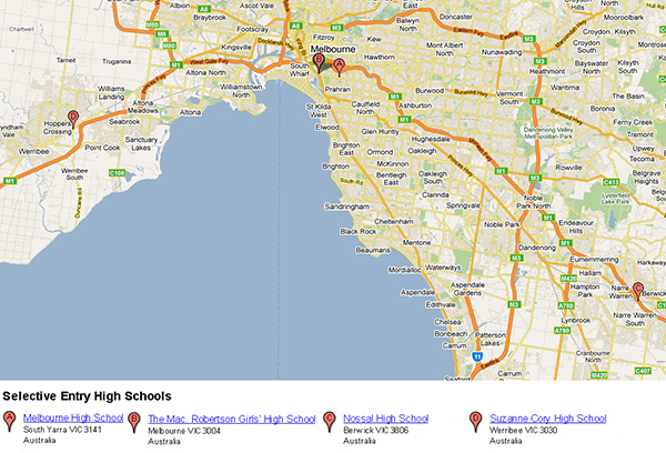 Melbourne map showing where the four selective entry high schools are located