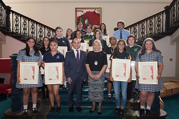 The Minister for Education, the Victorian Aboriginal Education Association President and recipients of the 2016 Scholarships.