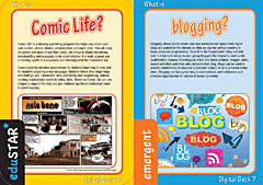 screenshots of comic life and blogging cards from digital deck