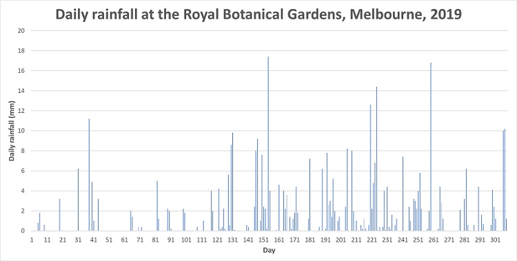 This column graph shows how much rain fell at the Royal Botanical Gardens on each day of the year in 2019