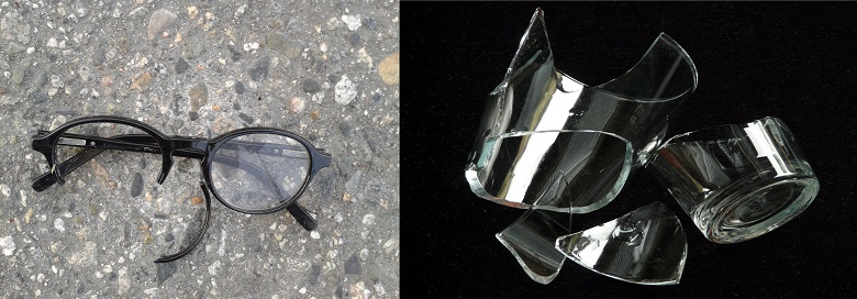 Pictures of two possible interpretations of 'the glasses fell to the floor and broke'. One image shows a pair of shattered spectacles. The second image shows two broken glass tumblers. For the sentence 'The woman made the toast', two images are shown. One is cooked bread coming out of a toaster, the second is a woman raising a glass to make a speech