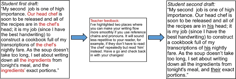 three text boxes show a students' first draft, then teacher feedback on using pronouns, then the students' second draft