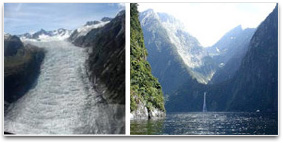 Fox glacier and Glacial Hanging Valley, New Zealand