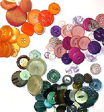 Image of a pile of clothes buttons of various sizes and colours.