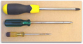 Three screwdrivers of various sizes