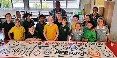 Bruthen Primary School students and symbols
