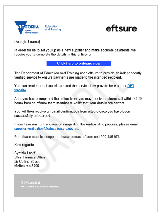 Sample of the email new suppliers will receive from eftsure
