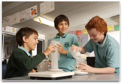 School kids experimenting in a laboratory