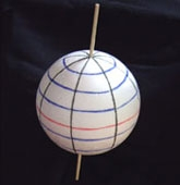 Sphere with lines of longitude and longitude and an equatorial line