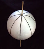 Sphere with lines of longitude