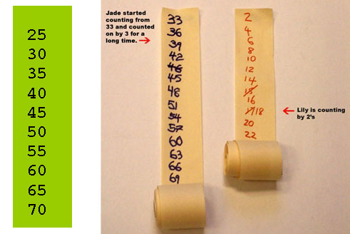 Rolls of paper with counting numbers written on them