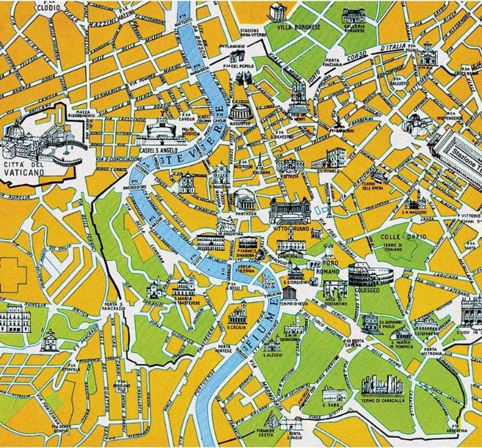 Languages Online Cartoon Story Maker Example - Rome map cartoon