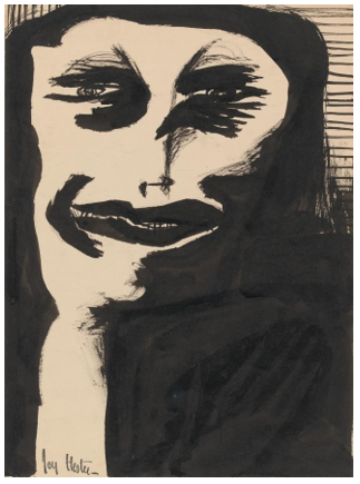 Painting by Joy Hester entitled Untitled (Woman in Black) (circa 1948). Brush and ink, 37.2 x 26.9 cm irregular
